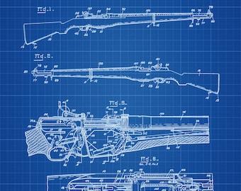 M1 Garand Rifle Patent 1932 - Patent Print, Wall Decor, Gun Art, Firearm Art, M1 Rifle, Military Art, Garand Patent