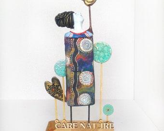 Impressive Art Object CARE NATURE for your Eco home decor / Eco decor / Nature art / Bird artwork / Summer / Art / Art objects / Gift ideas