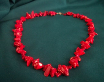 Red Coral beaded necklace