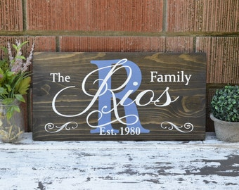Custom Family Name Sign Painted on Rustic Stained Wood Pallet Establishment Plaque