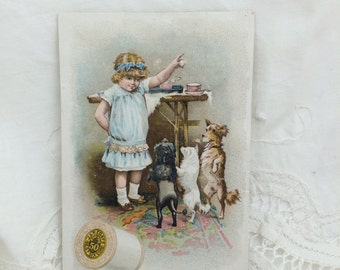 Trade Card, Little Girl with Dogs, J&P Coats Thread, Antique Thread Ad Card, Ad Cards with Dogs, Children and Dogs, Thread Trade Cards