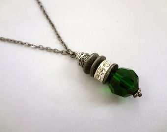 MAY Birthstone Green Crystal Charm Necklace | Jewelry | Gunmetal Chain | Birth Month Necklace | Wire Wrap | Gift