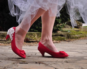 Red bridal shoes lace red bridal shoes red heels low heel wedding shoes custom shoes rounded toe shoes comfortable shoes SIZE US 7.5