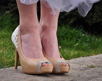 Wedding shoes peep toe wedding shoes open toe wedding shoes rhinestone shoes bling wedding shoes open toe bridal shoes peep toe SIZE US 7.5