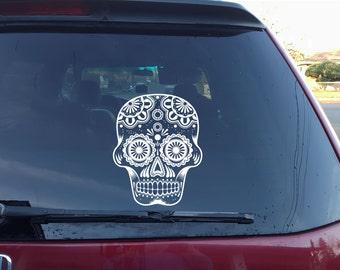Sugar skull vinyl decal, Sugar skull car decal, Skull decal, Skull, Sugar skull