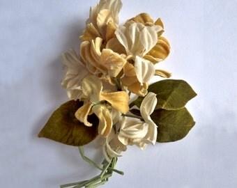 Vintage Millinery flowers bouquet. Velvet. Hat trim. Unique. 1930s - velvet flowers - millinery bouquet - vintage bouquet - velvet millinery