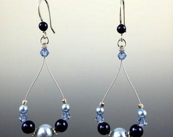 Swarovski Crystal and Sterling Silver Teardrop Earrings, Bridal Jewelry, Wedding Gift, Bridesmaid, Crystal Pearls