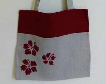 Tote bag   Linen tote bag   Handbag  Shopping bag  Beach bag Hibiscus flower