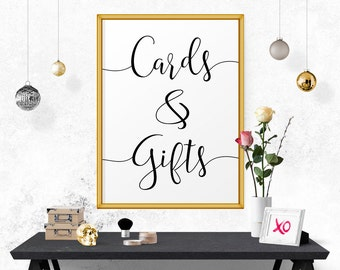 Printable Wedding Sign, Cards And Gifts, Sign For Wedding, Reception Signs, Typography