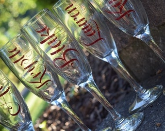 Champagne Flutes, Bridal Party Champagne Flutes, Bridal Party Gift, Wedding Party Champagne Flutes, Wedding Party Gift, Champagne Flute,