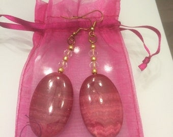 coral pink large stone earrings with crystal beads