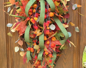 Fall Foliage Swag, Fall Front Door Wreath, Autumn Swag, Fall Foliage Swag, Thanksgiving Door Swag, Thanksgiving Front Door Wreath