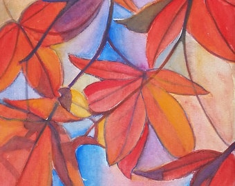 Red leaves, watercolor, original, ooak, 24x32 cm./9,4x12,6 inc., gift idea, wall art, home decoration, bedroom, living room.