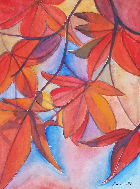 Autumnal picture with maple red leaves, original watercolor by Francesca Licchelli, gift idea for her, moder decore, home office decoration.