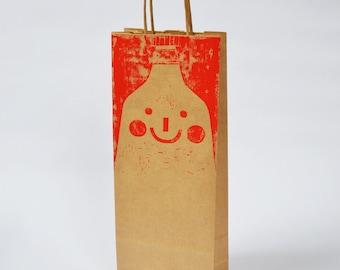 Handprinted Bottle Bag