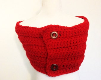 Women's Vibrant Red Chunky Wrap/Scarf/Cowl with Wooden Buttons