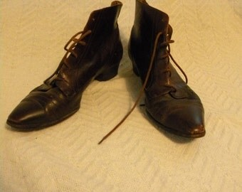 Vintage Leather Victorian-Style Boots