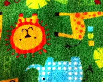 Fleece animal print fabric etsy for Fleece fabric childrens prints