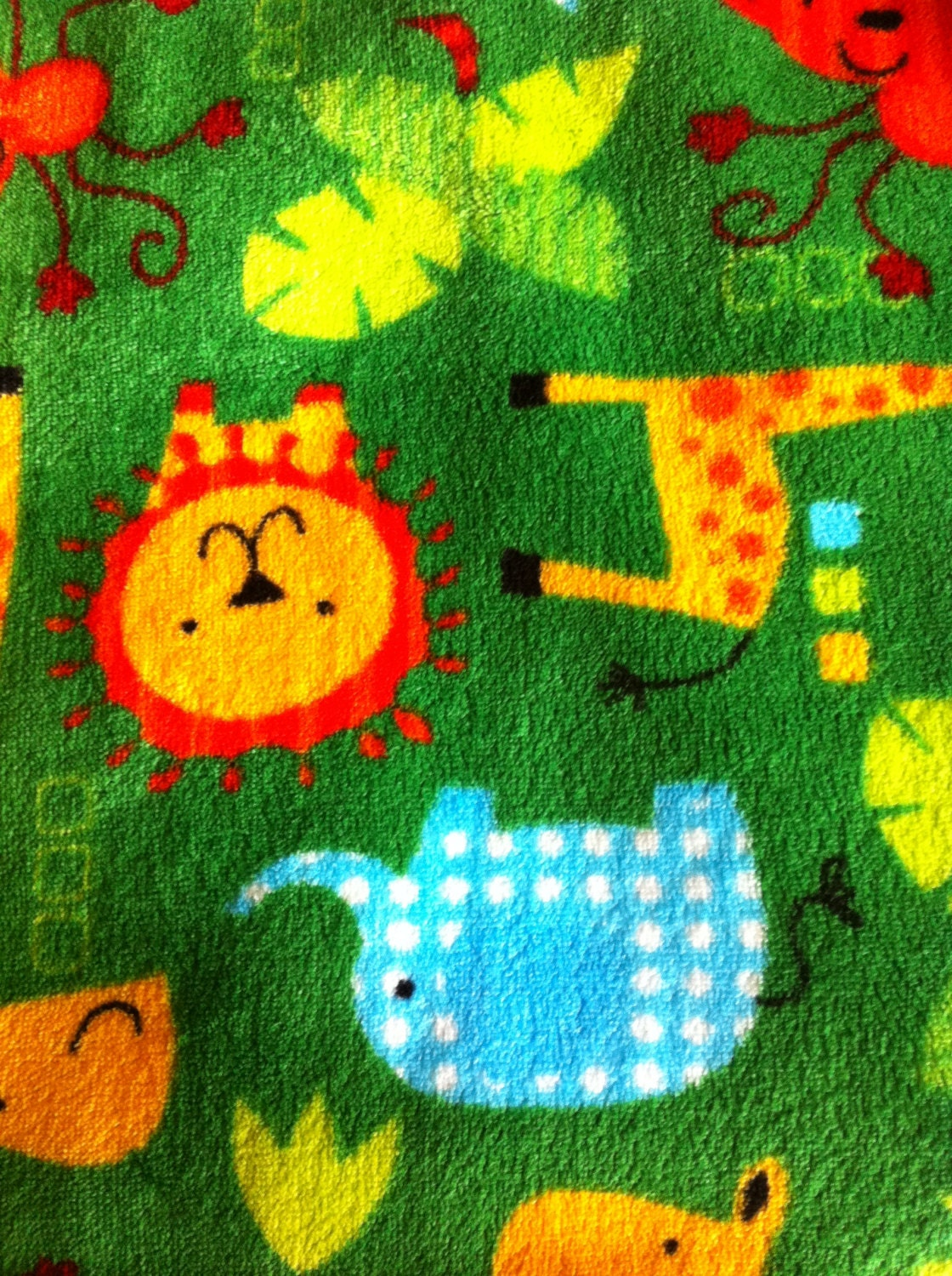 Cuddle aminal print fabric fleece lions elephants moneys for Children s animal print fabric