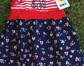 FREE SHIPPING, Monogram Dress, Personalized Dress, Summer Dress, July 4th, Sleeveless dress, July 4th Dress