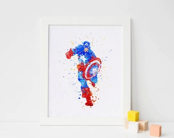 Captain america poster Watercolor Art captain america Print nursery Wall decor, Watercolour Print captain america Superhero Poster wall art