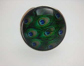 Adjustable ring modern graphic peacock feathers