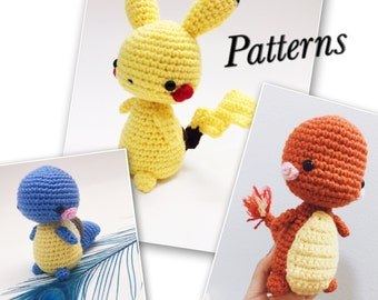 Kawaii Pokemon Amigurumi Pattern Package - Pikachu, Charmander, Squirtle