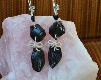 Tektite earrings with silver plated wire / Impact glass meteorite earrings / Metaphysical Jewelry / Tektite Gemstone fancy Drop Earrings