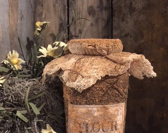 Primitive Grubby Grungy FLOUR Pantry Jar Cupboard Tuck Early Look Farmhouse