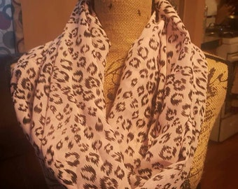 Cheetah, Animal, Leopard Print, Light Pink with black print Sheer Spring Infinity Scarf Women's