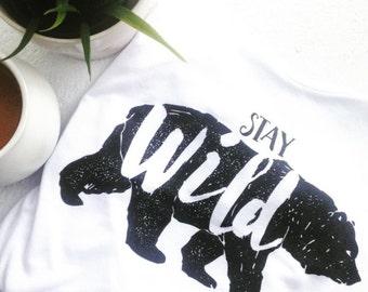 white flowy stay wild women's bear tank