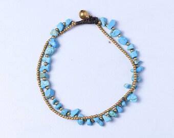Turquoise Natural Rocks Anklet,Brass Beads Anklet, Blue Anklet, Beaded Strings Anklet, A37