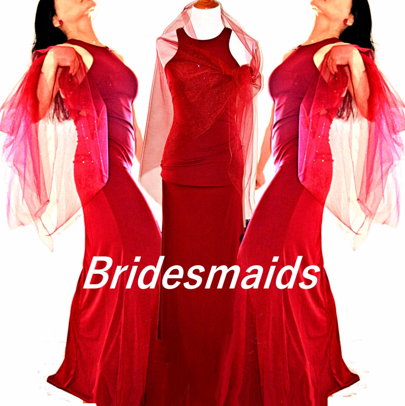 Red Bridesmaid dress red bridal wraps bridal cover ups