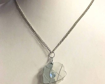 Light Blue and White Sea Glass Necklace