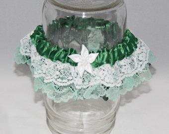 Green & White Garter with Flower