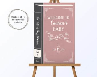 PRINTABLE Vintage Book Baby Shower Welcome Sign | Literary Shower | Book Welcome Sign | Welcome to Baby Shower | Book Themed Baby Shower