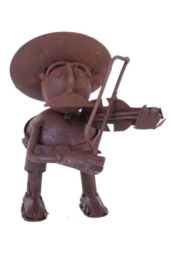 Violinist mariachi music metal figurine oxide color clear