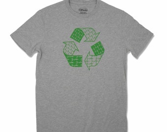 Men's Cycle/Recycle T-shirt, made in California and screen printed with water based ink.