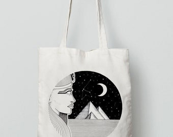Cosmic Giza By EMILYMESLI / Tote Bag White - bag in canvas, cotton, Egypt, Moon, Egyptian, Ink,