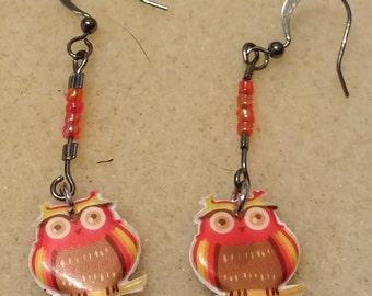 Cute beaded owl earrings