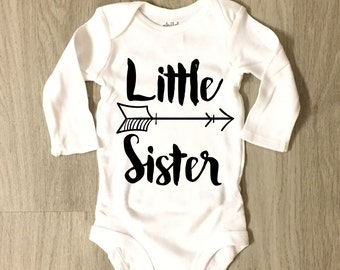 Little Sister Bodysuit - infant or toddler bodysuit - baby girl - coming home outfit