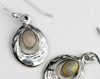 Ethiopian Opal and 925 Sterling Silver Earrings