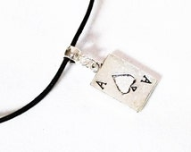 Ace Necklace, Poker Cards Necklace, Poker Jewellery, Gambling Jewellery, Ace Card Charm, Poker Gift, Gambling Gift, Ace Of Spades Gift
