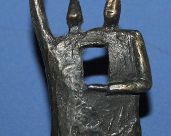 Vintage hand made bronze plated abstract figures figurine
