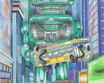 Retro Robots: Robot & Space Coloring Book!