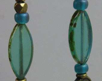 Turquoise/aqua glass beads and brass earrings (see matching bracelet)