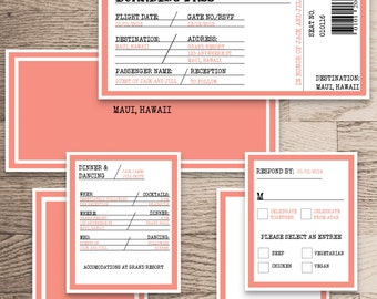 Wedding Invitation Package Download/ Boarding Pass Destination Wedding Customize Personalize/ Emma Collection/ Print at Home Only