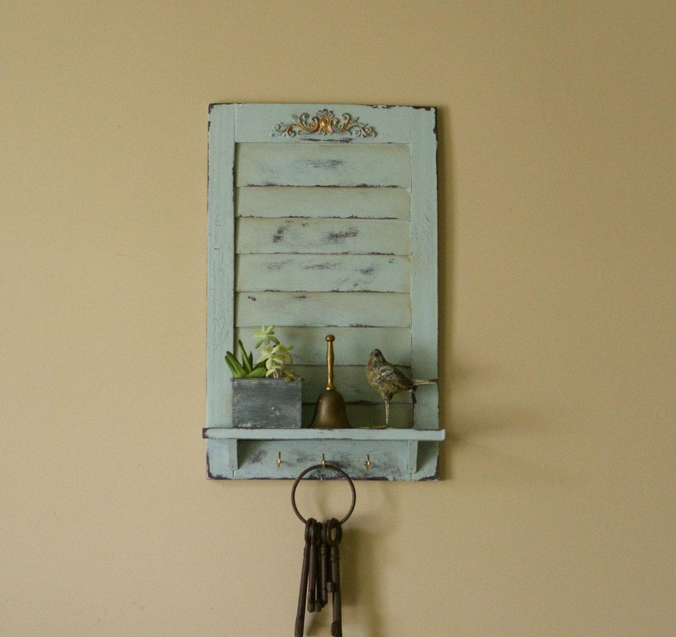 Disstressed wall shelf wall decor key hook entry shelf for Keys decorating walls