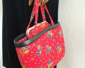 1950s purse, red purse, flower purse, 50s red purse, vintage purse, vintage handbag, red handbag, 1950s handbag