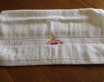 100% Cotton towel embroidered with the words Ballet, Dance and a little girl Ballet Dancer